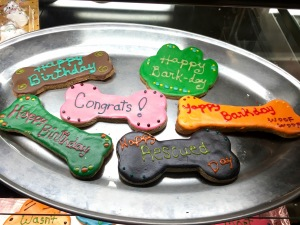 Above are treats that Bentley's Biscuits & Bones can make for any occasion. Each can be personalized upon request.
